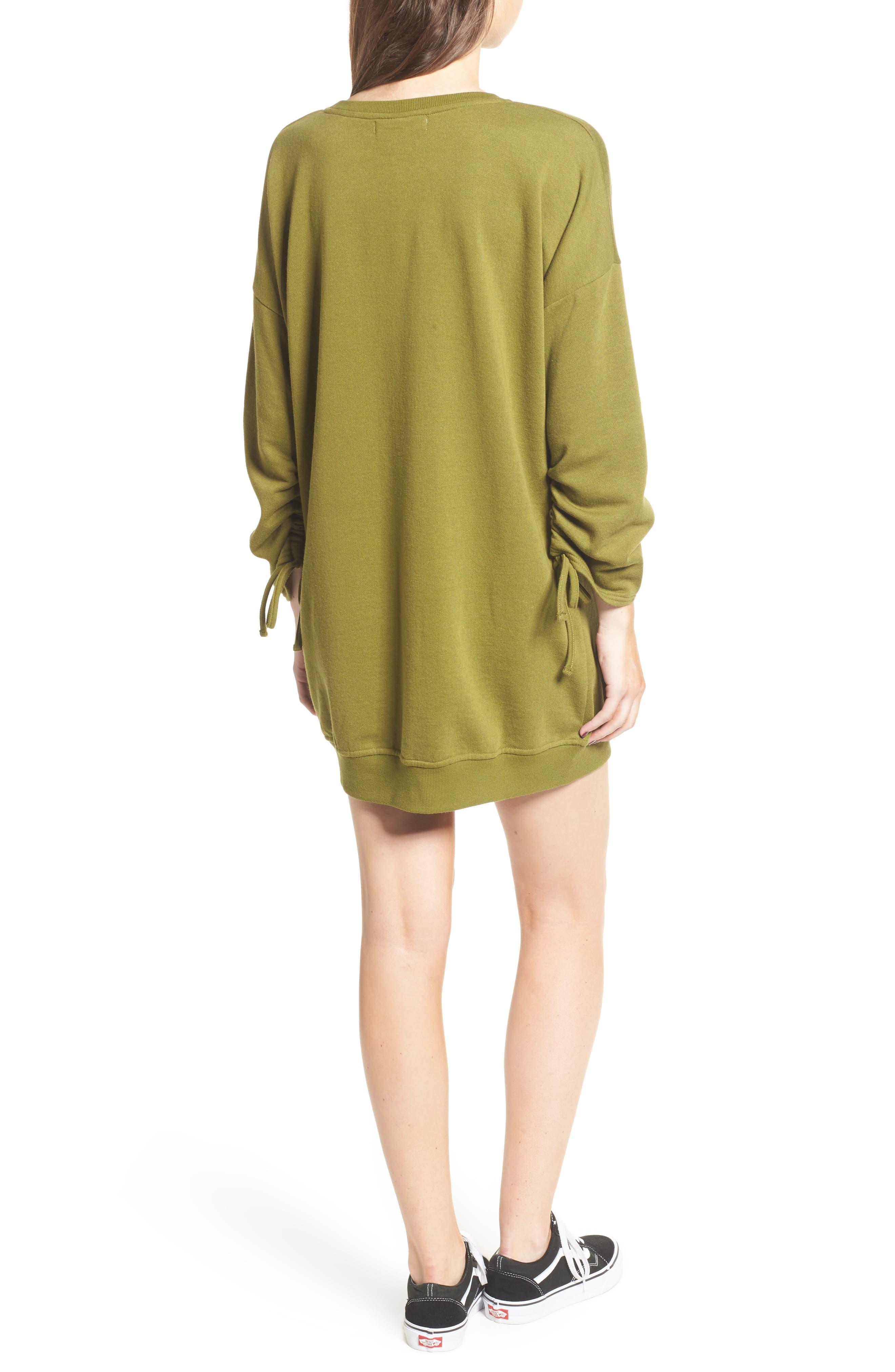 ,                             Ruched Sleeve Sweatshirt Dress,                             Alternate thumbnail 8, color,                             300