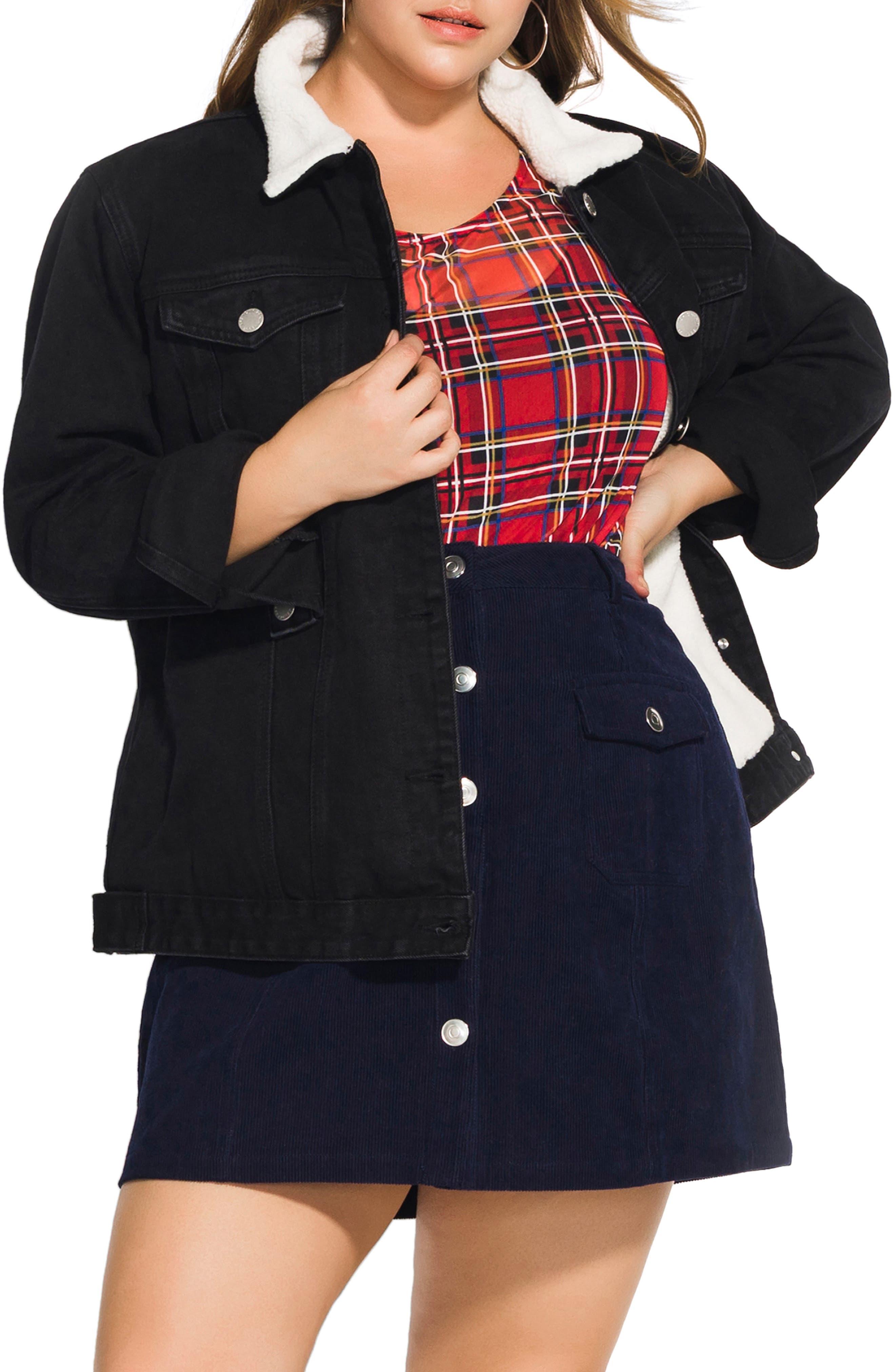 City Chic Faux Shearling Trim Denim Jacket (Plus Size)