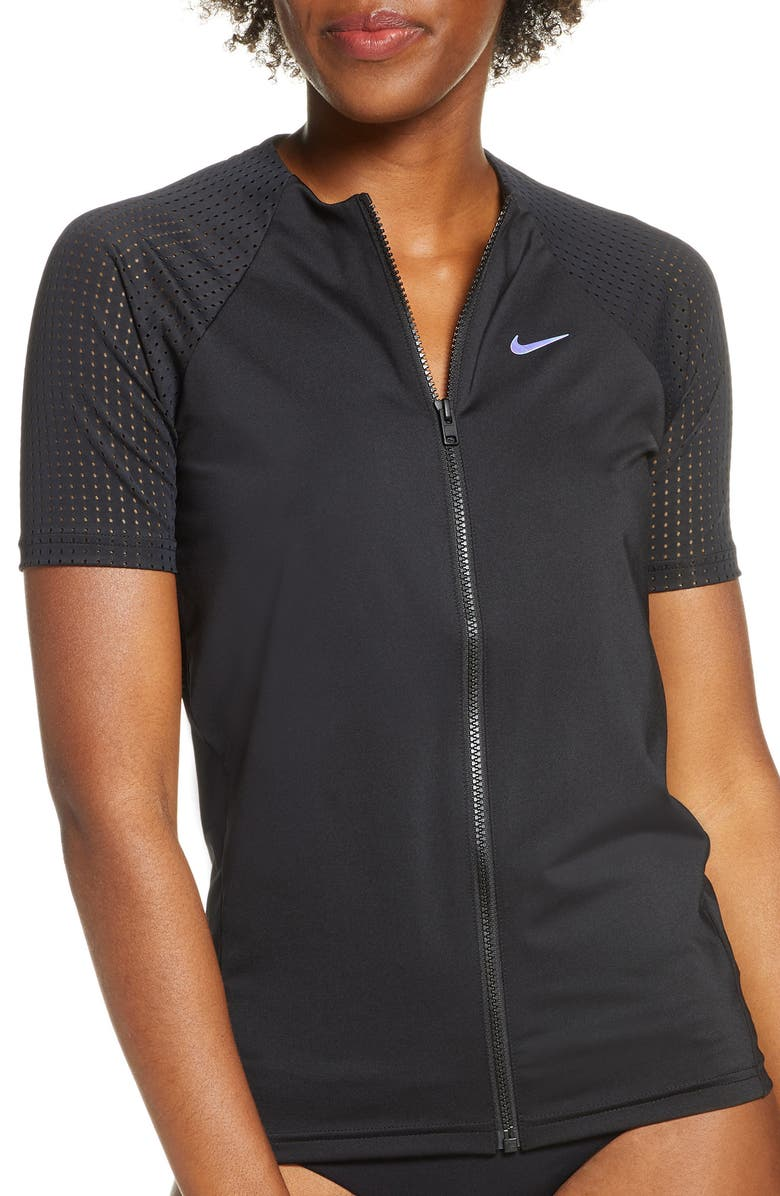 NIKE Hydroguard Zip Front Rashguard Top, Main, color, BLACK