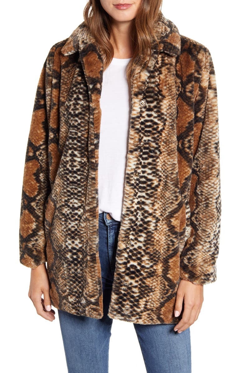 WIT & WISDOM Snakeskin Print Faux Fur Coat, Main, color, TA TAN