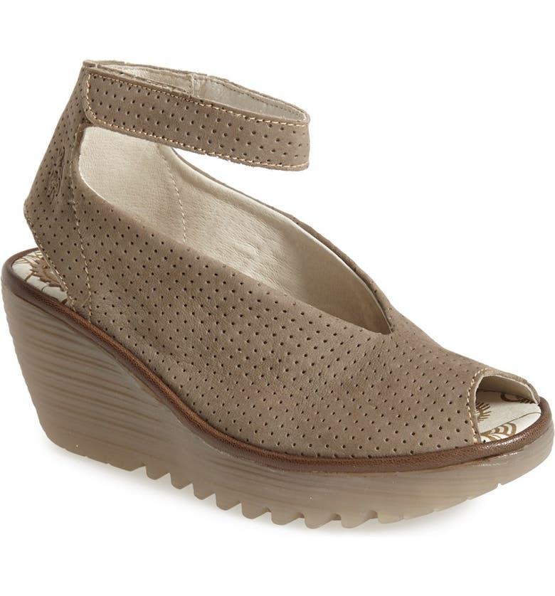 FLY LONDON 'Yala' Perforated Leather Sandal, Main, color, KHAKI