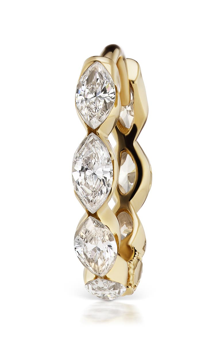 MARIA TASH Marquise Diamond Invisible Huggie Earring, Main, color, YELLOW GOLD