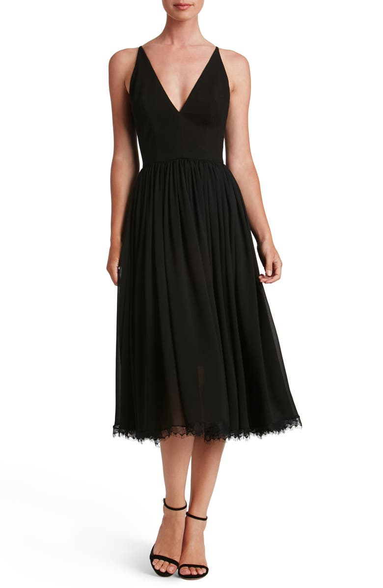 DRESS THE POPULATION Alicia Mixed Media Midi Dress, Main, color, BLACK