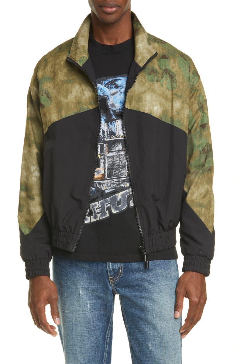 RHUDE Camo Water Resistant Nylon Flight Jacket, Main, color, BLACK CAMO