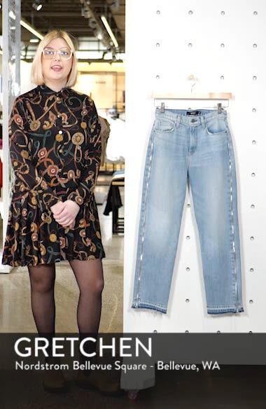 Holly High Waist Side Zip Crop Straight Leg Jeans, sales video thumbnail
