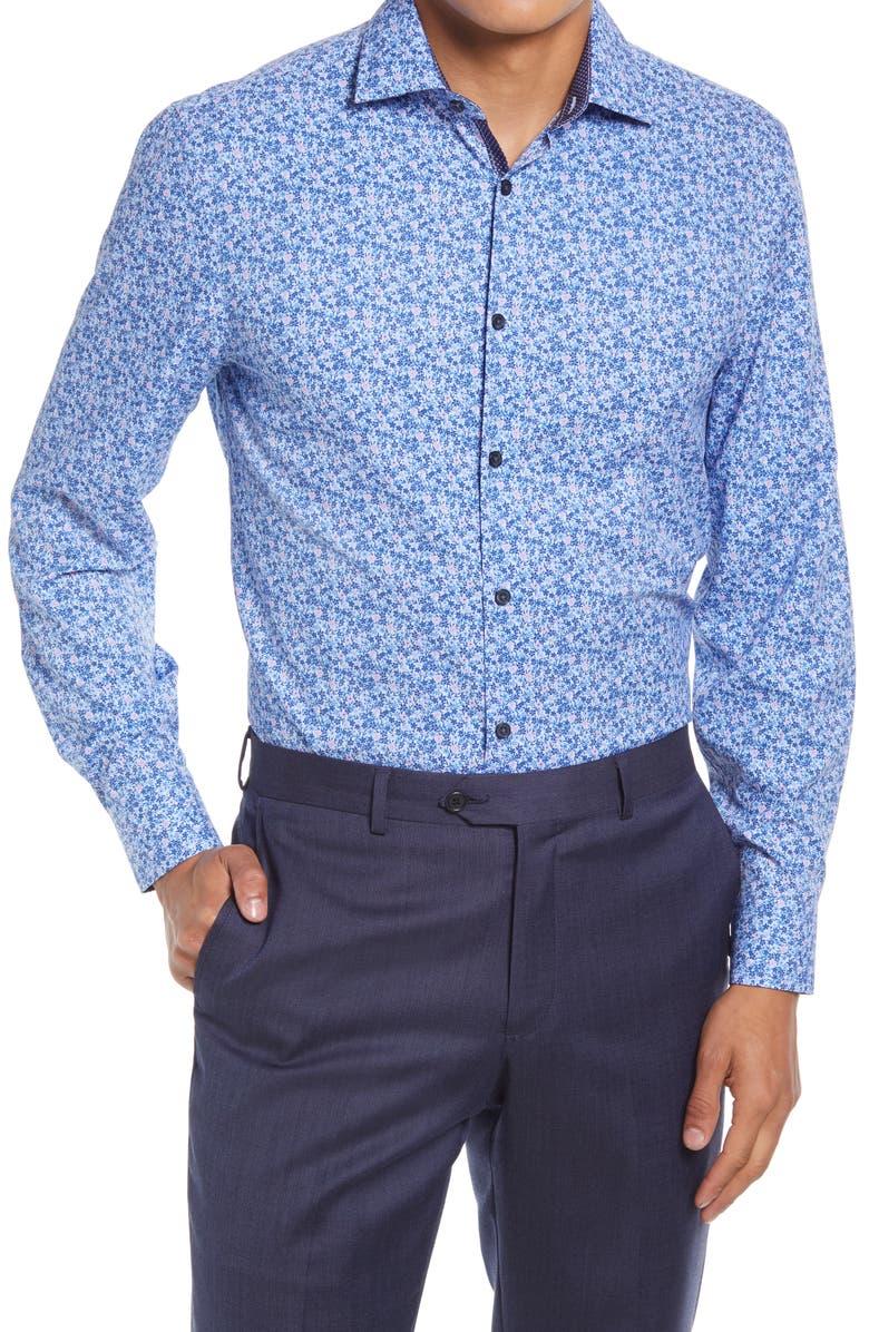 W.R.K Trim Fit Floral Performance Dress Shirt, Main, color, BLUE/ PINK
