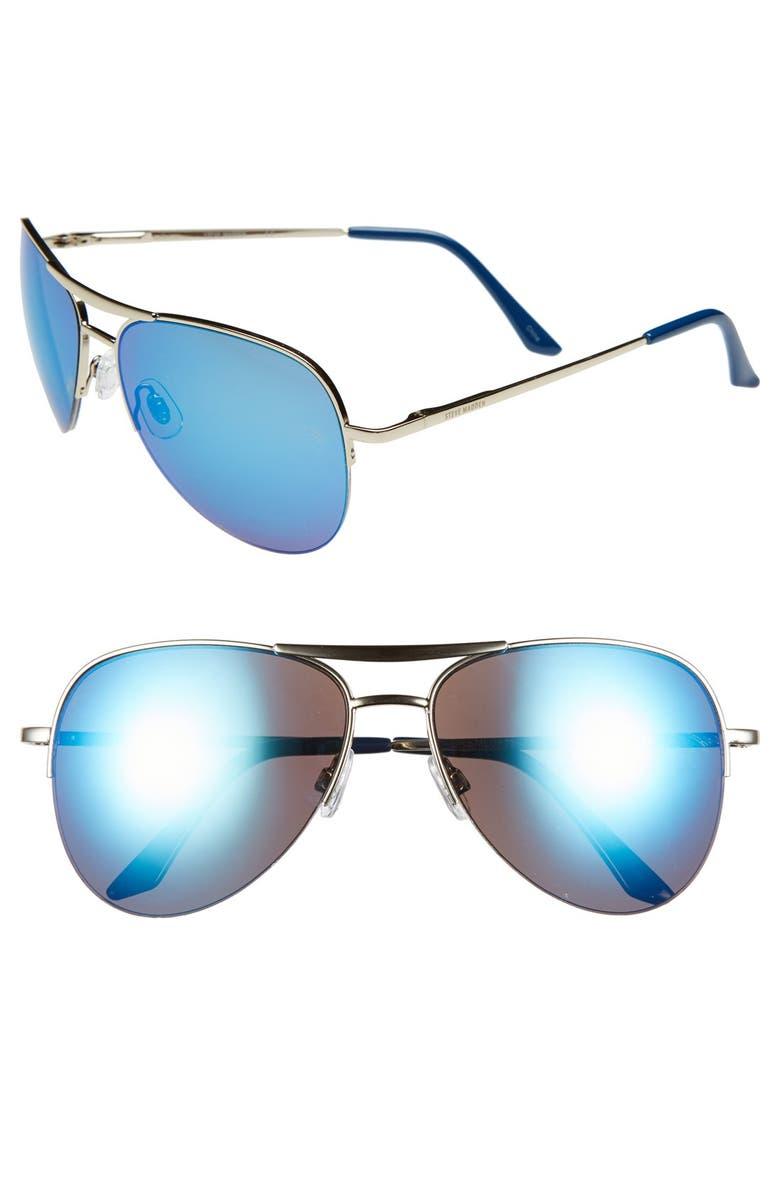 STEVE MADDEN Semi Rimless 55mm Aviator Sunglasses, Main, color, 001