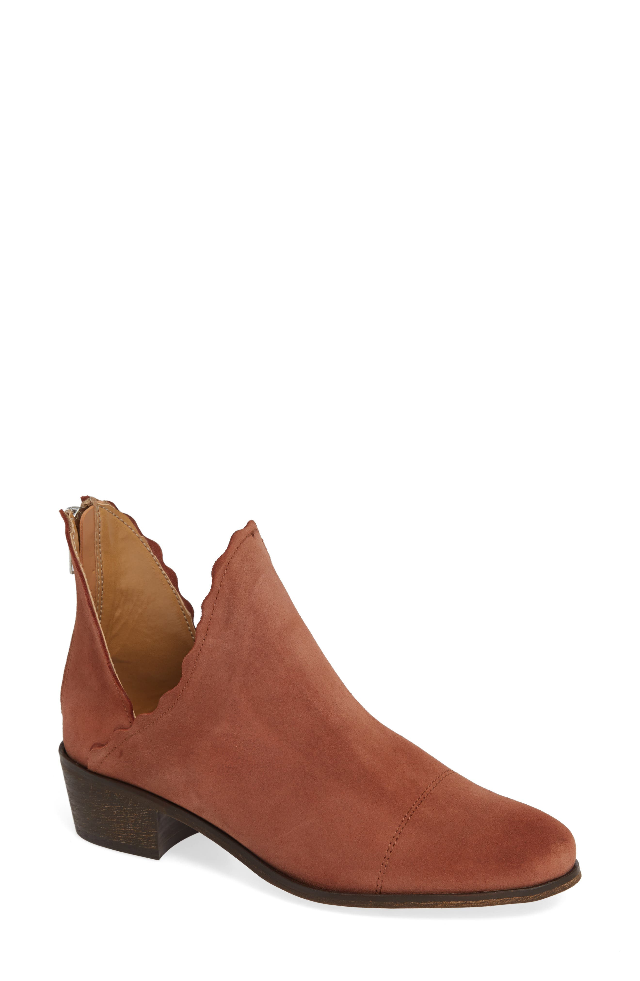 Bae Scalloped Bootie, Main, color, TERRACOTTA SUEDE