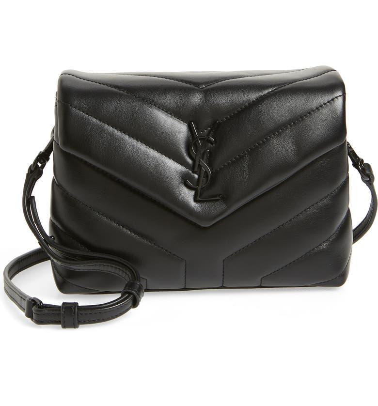 SAINT LAURENT Toy Loulou Leather Crossbody Bag, Main, color, NERO