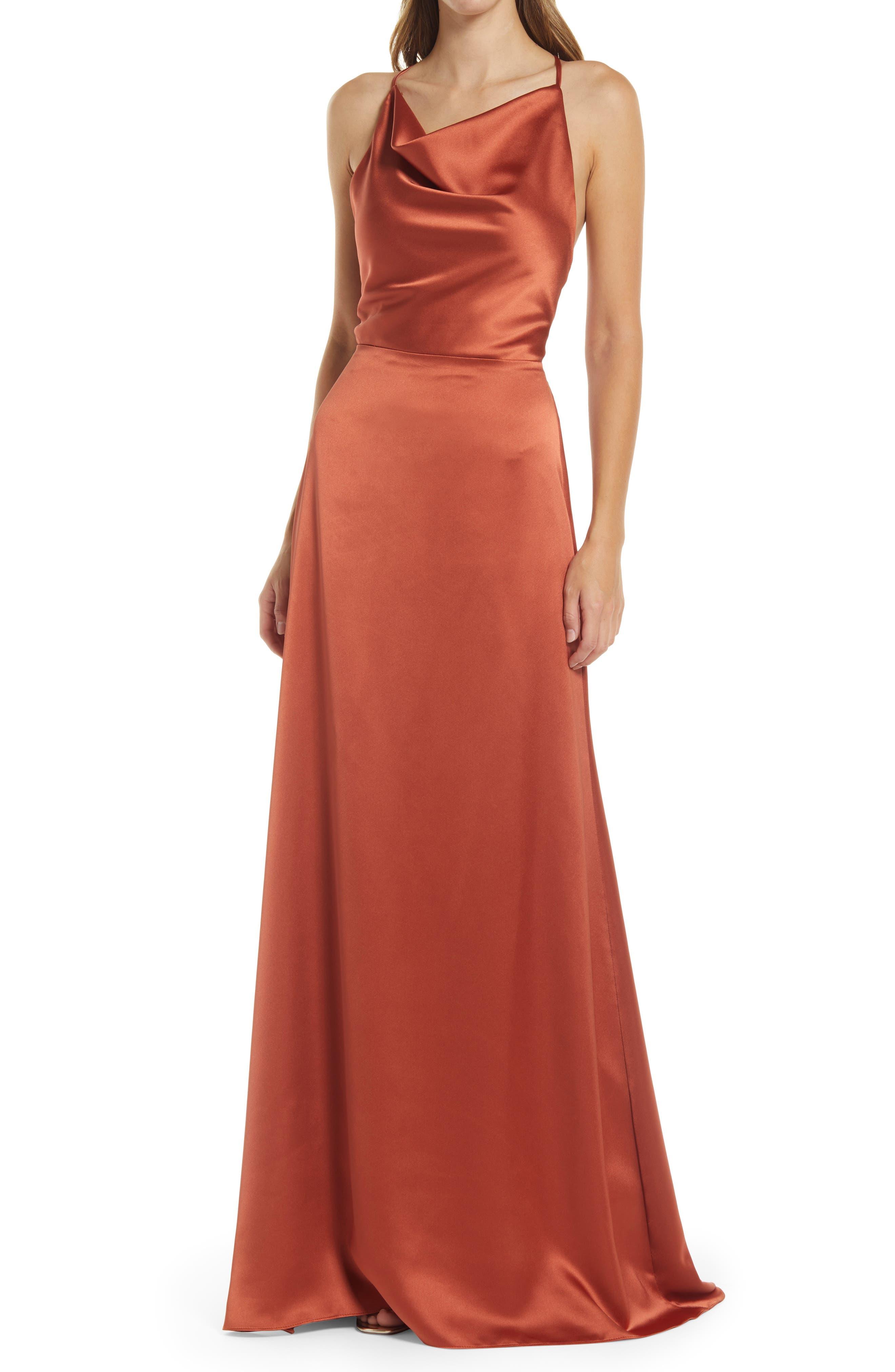 Cowl Neck Fluid Satin Gown