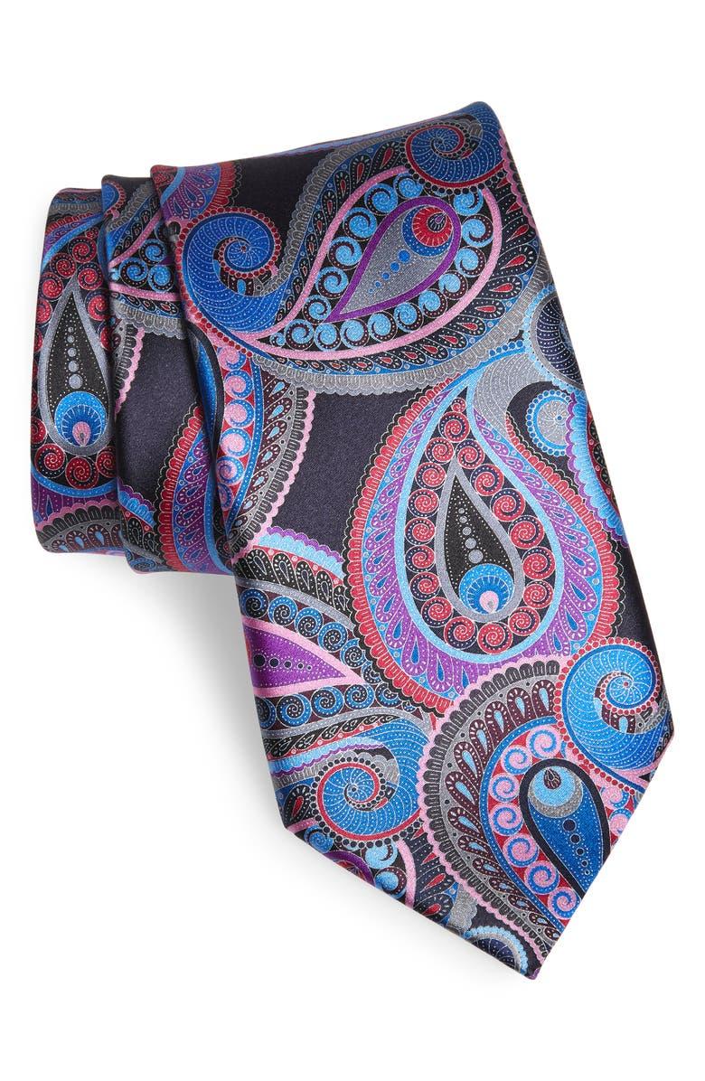 ERMENEGILDO ZEGNA Quindici Paisley Silk Tie, Main, color, MD PRP FAN