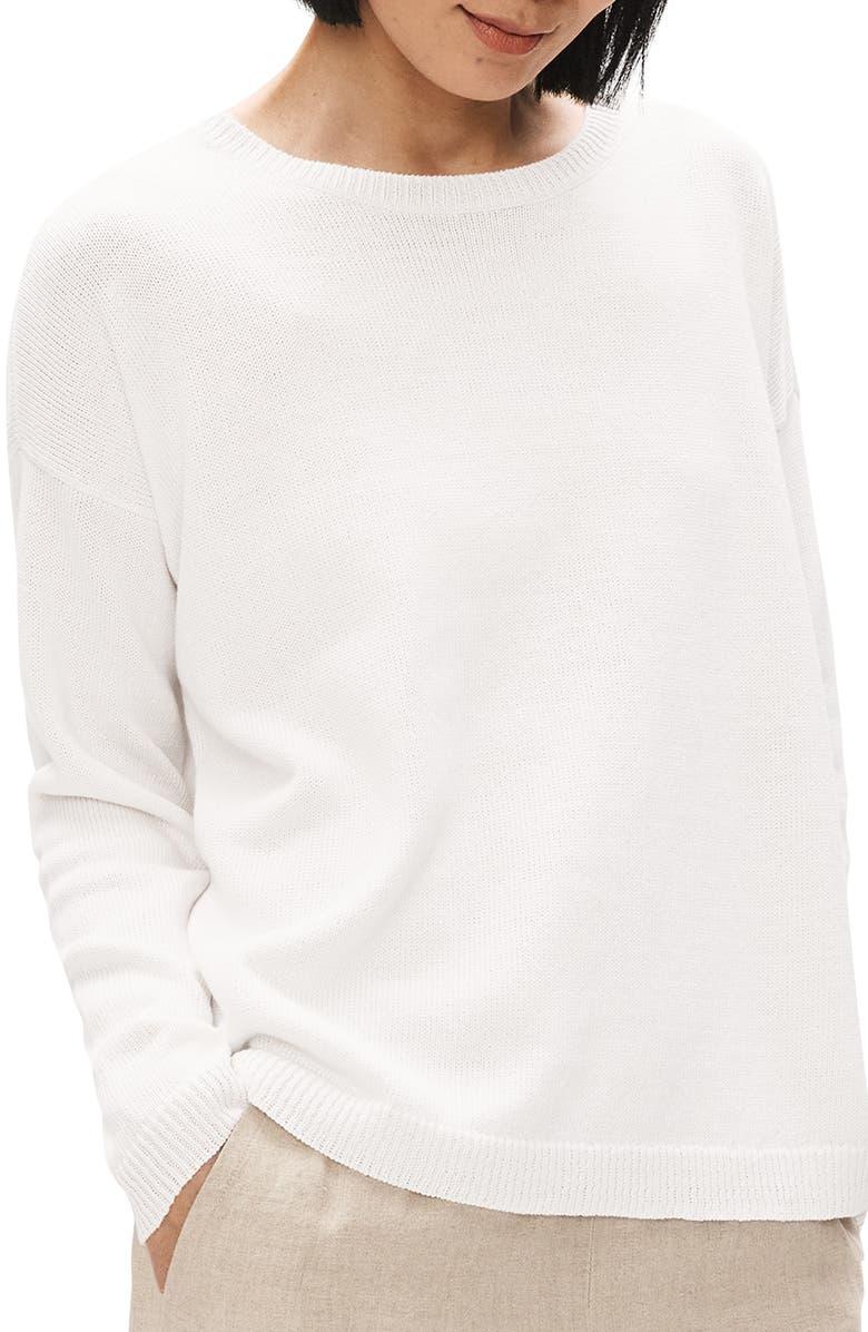EILEEN FISHER Boxy Organic Linen & Organic Cotton Sweater, Main, color, WHITE