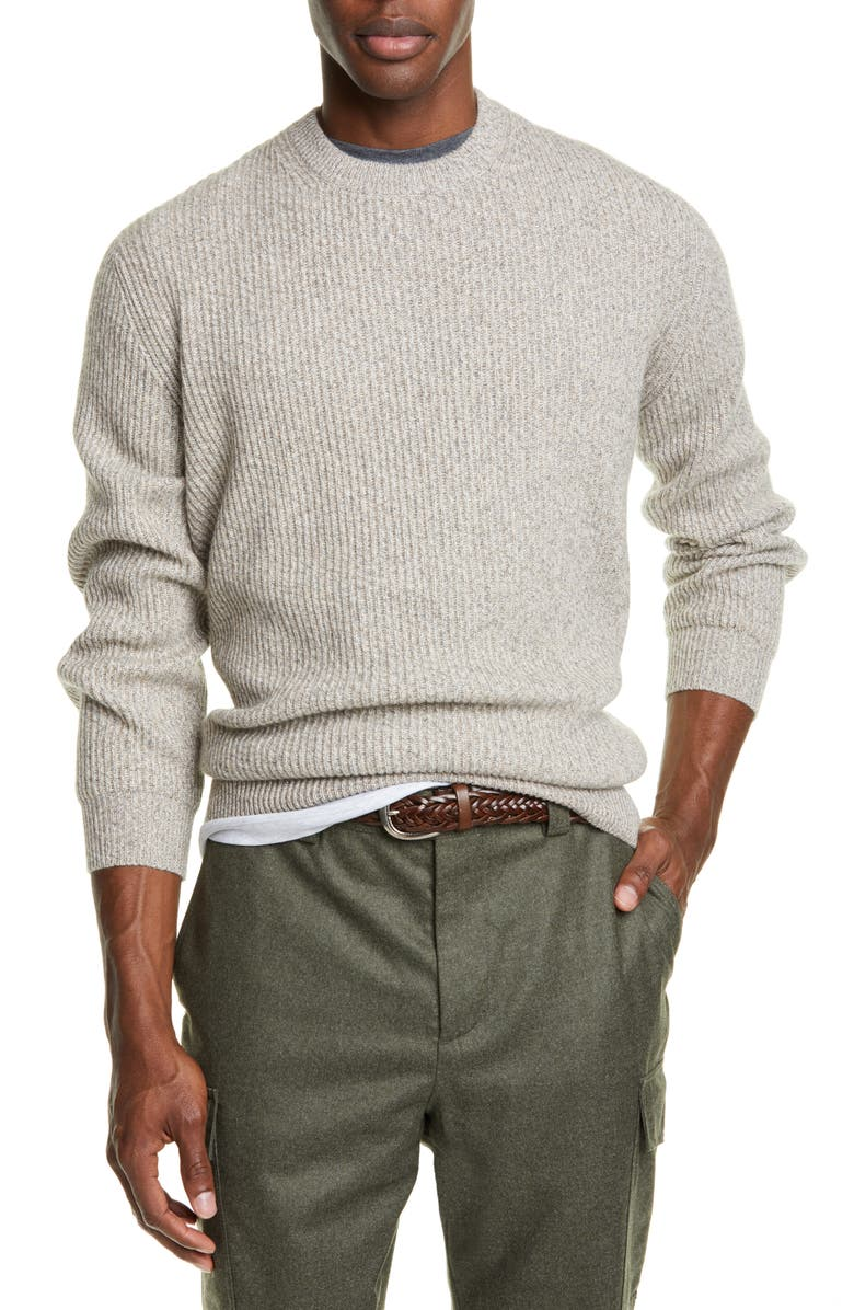 BRUNELLO CUCINELLI Melange Cashmere Crewneck Sweater, Main, color, BEIGE GREY