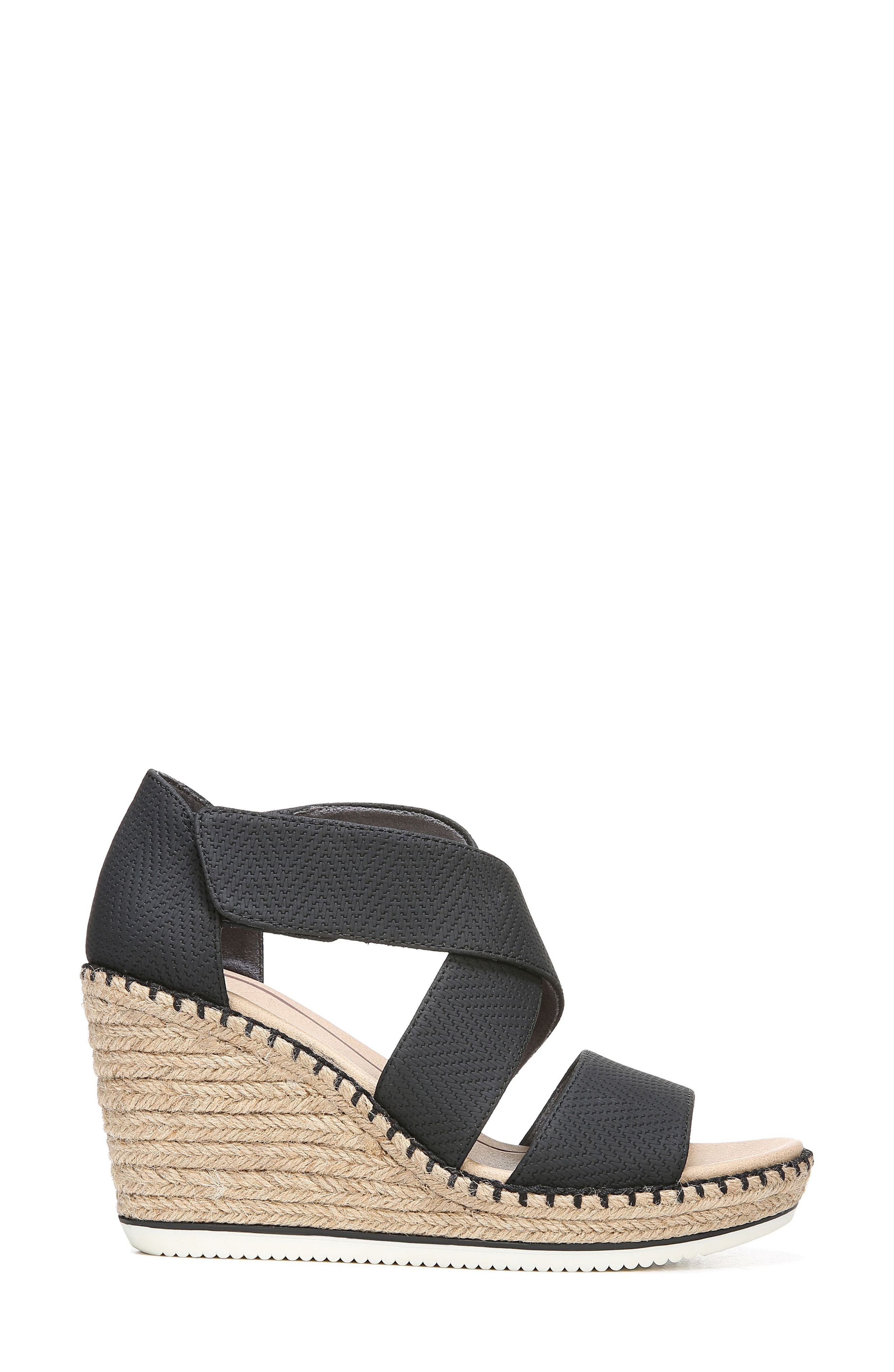 ,                             Vacay Wedge Sandal,                             Alternate thumbnail 3, color,                             BLACK FAUX LEATHER