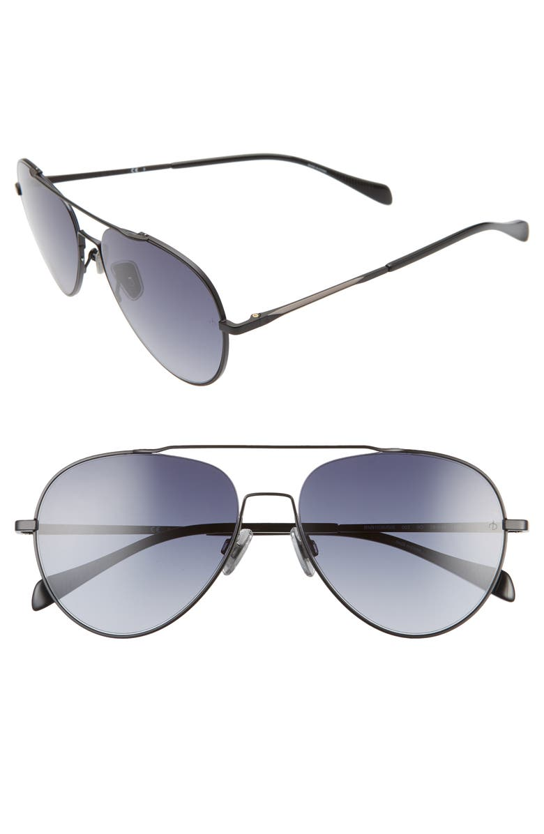 RAG & BONE 58mm Gradient Aviator Sunglasses, Main, color, 001