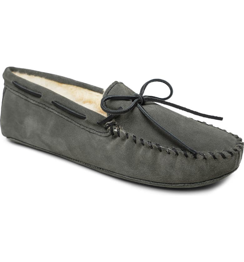 MINNETONKA Genuine Shearling Lined Leather Slipper, Main, color, GREY SUEDE