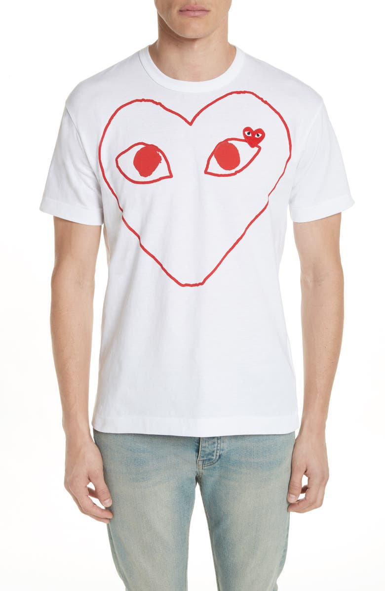 COMME DES GARÇONS PLAY Outline Heart Graphic T-Shirt, Main, color, WHITE