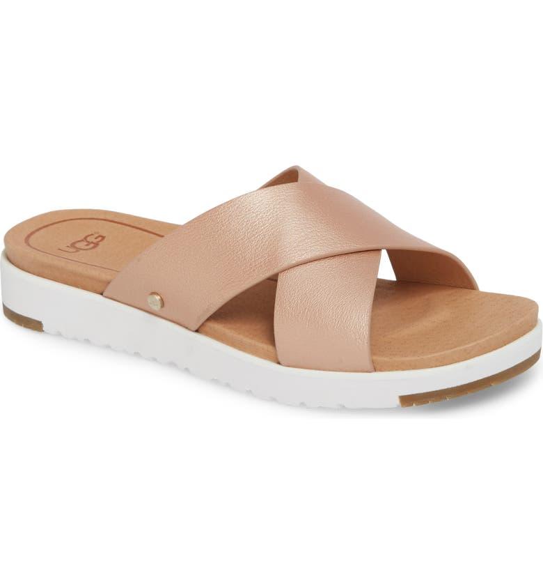 UGG<SUP>®</SUP> Kari Slide Sandal, Main, color, ROSE GOLD LEATHER