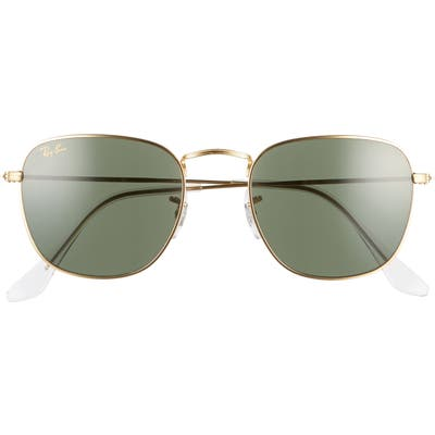 Ray-Ban 51Mm Square Sunglasses - Gold/ Green Solid