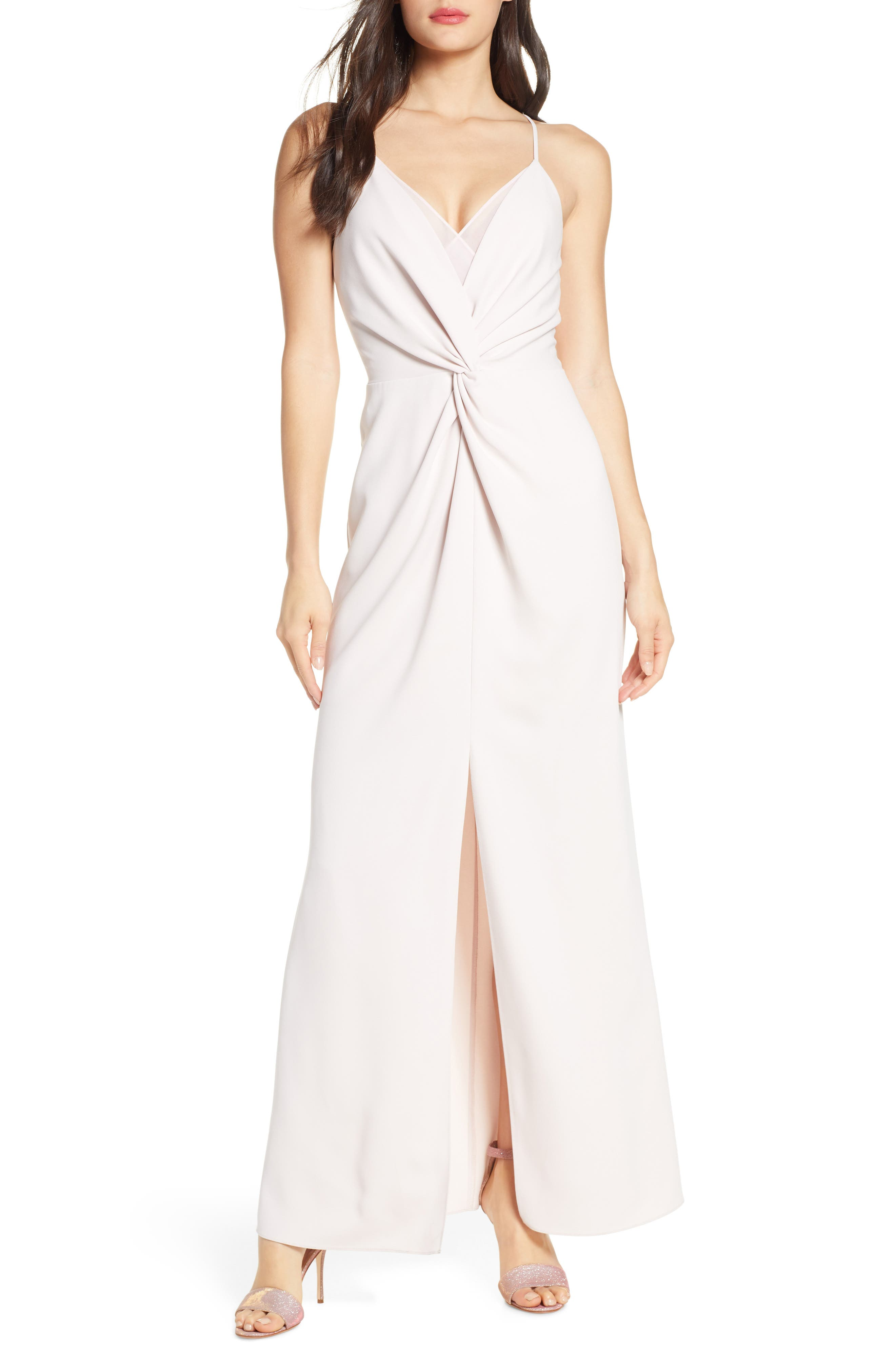 Harlyn Twist Detail Sleeveless Gown, Pink