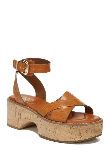 Image of Franco Sarto Sabello Croc Embossed Platform Sandal