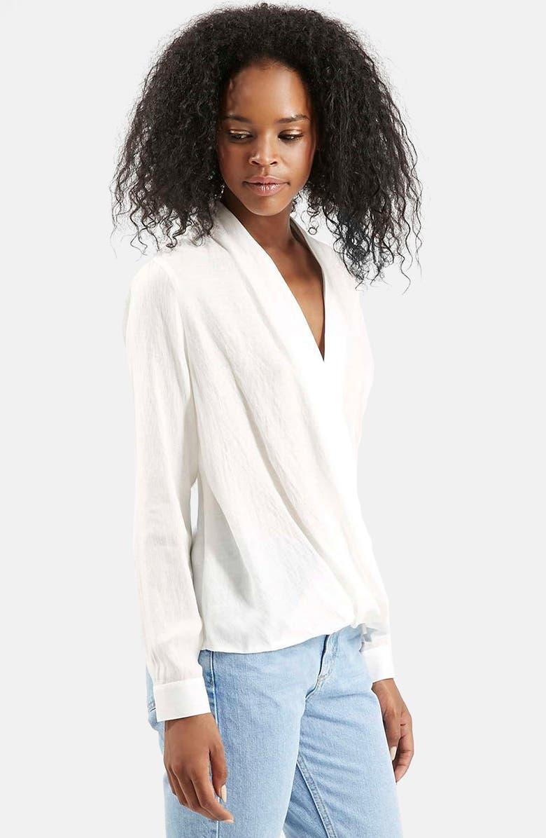 TOPSHOP Drape Front Blouse, Main, color, WHITE