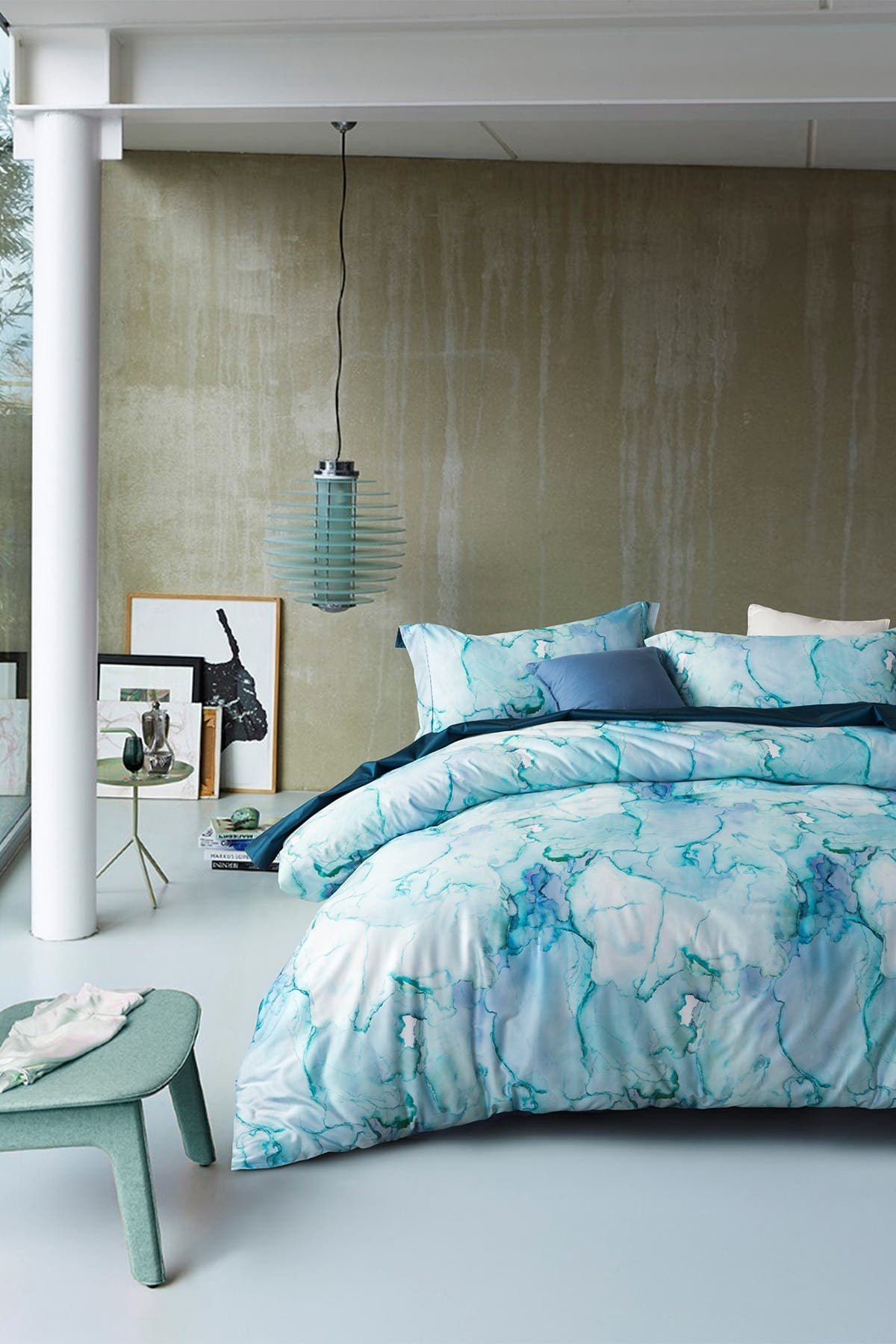 Image of Melange Home Blue Marble Full/Queen 3-Piece Duvet Set - Multi