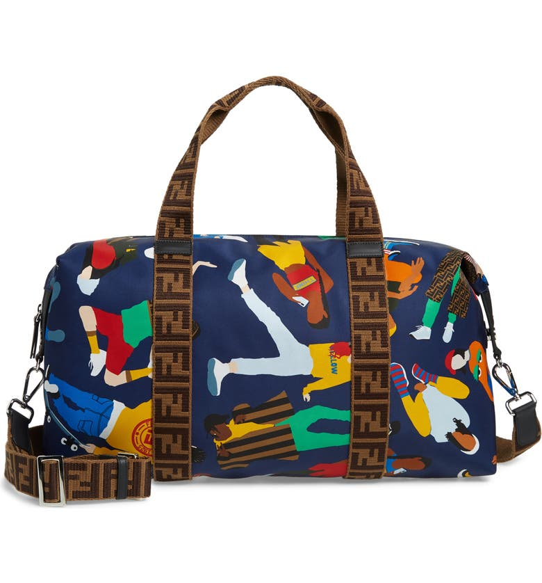FENDI Print Duffle Bag, Main, color, F01NG NAVY