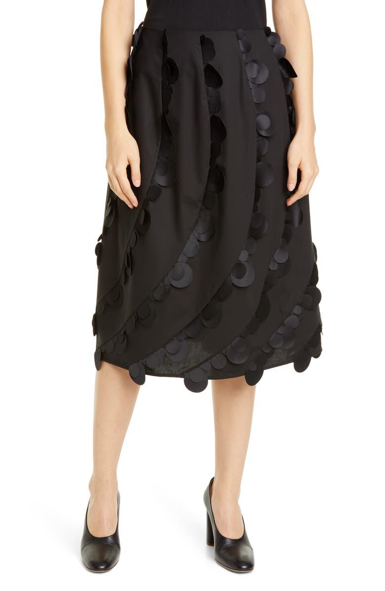 PASKAL Laser Cut Dot Stretch Cotton Midi Skirt, Main, color, BLACK
