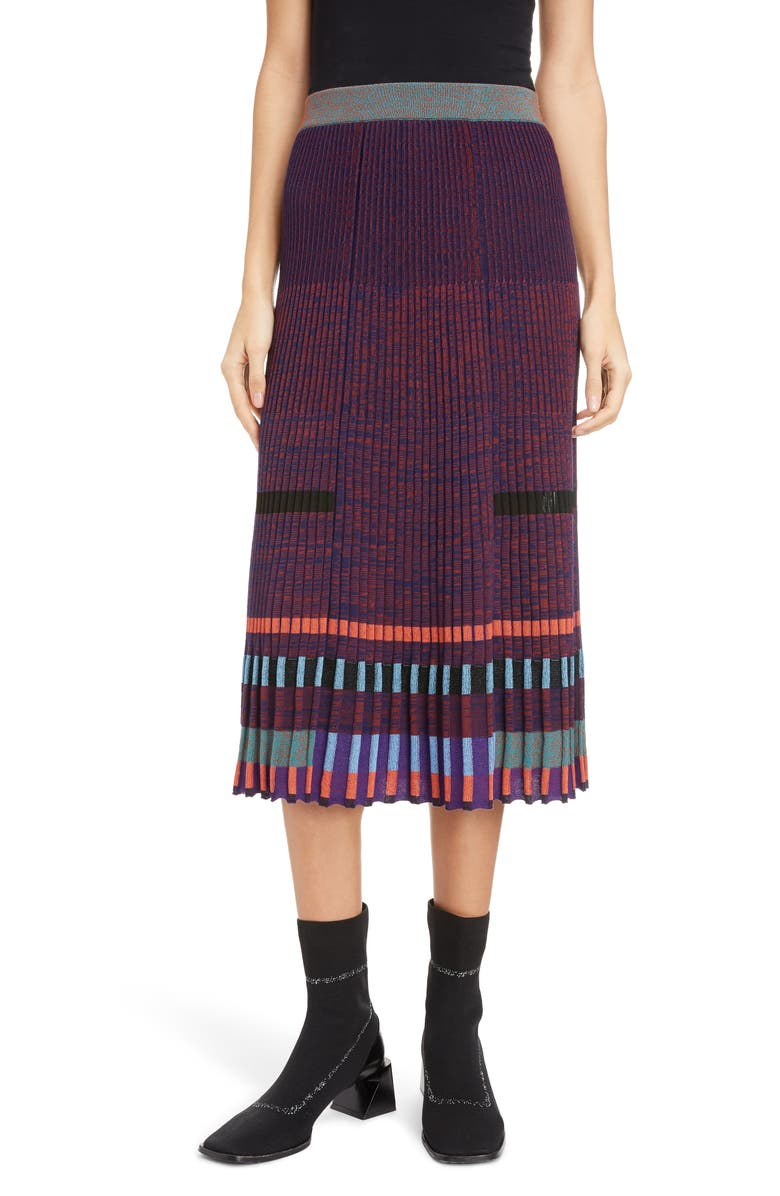 KENZO Colorblock Knit Midi Skirt, Main, color, BORDEAUX