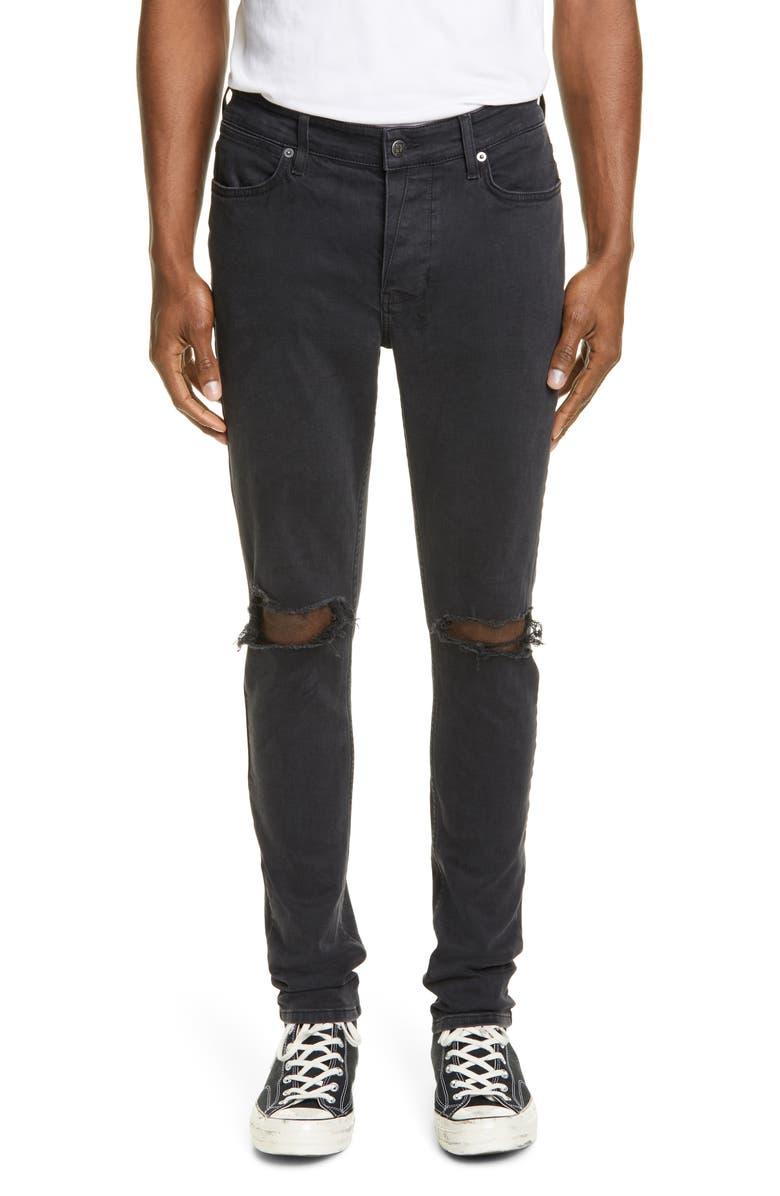 KSUBI Van Winkle Duster Ripped Black Skinny Fit Jeans, Main, color, DENIM