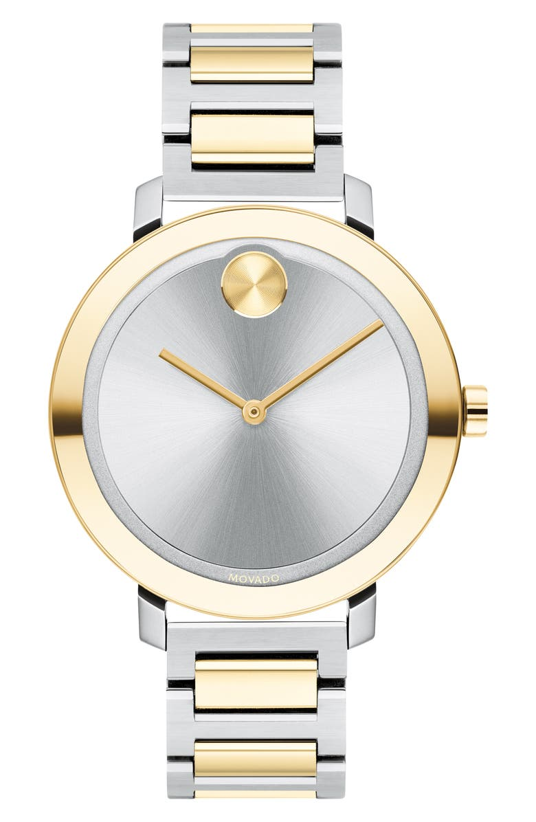 MOVADO Bold Bracelet Watch, 34mm, Main, color, SILVER/ GOLD