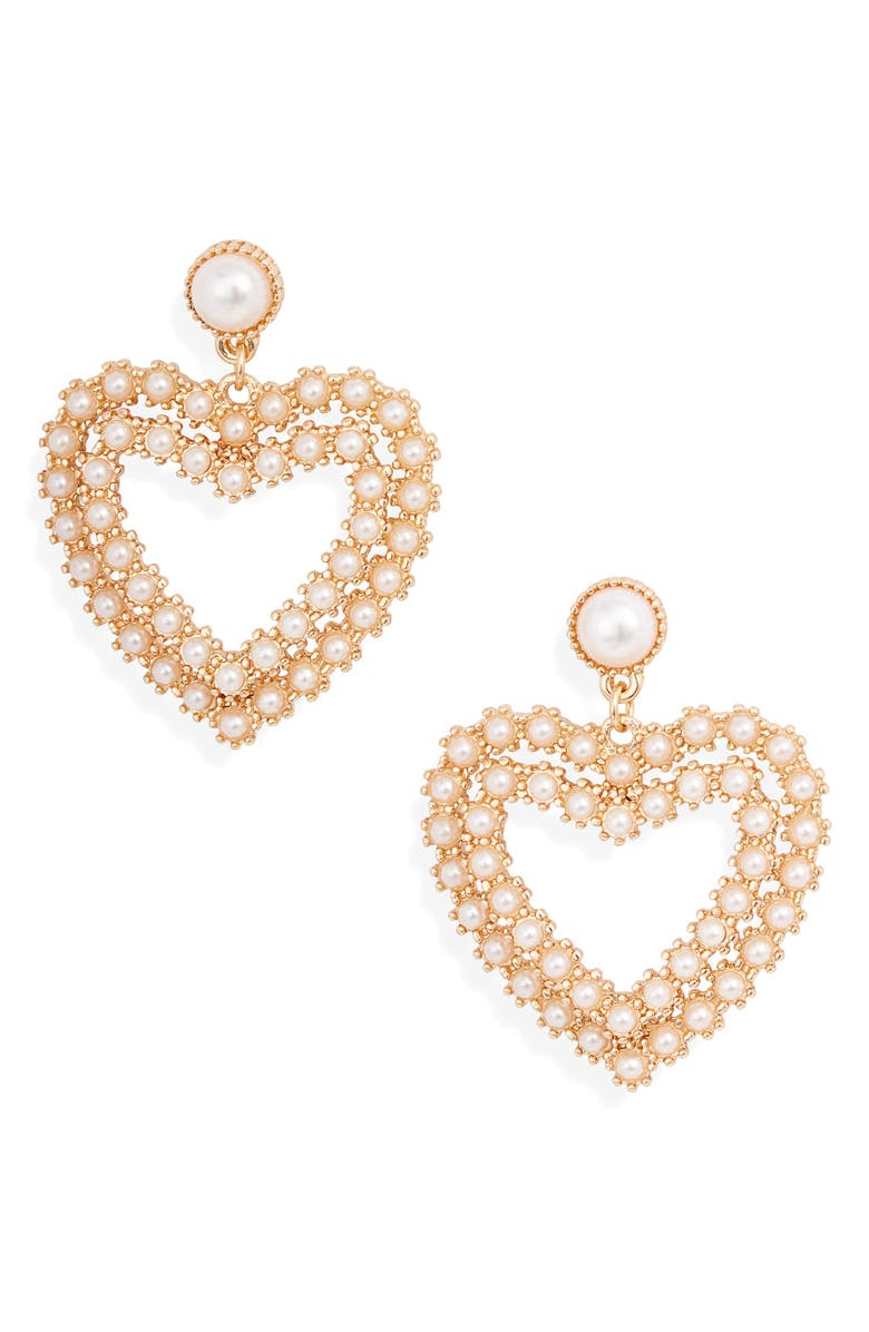 RACHEL PARCELL Imitation Pearl Heart Drop Earrings, Main, color, 100
