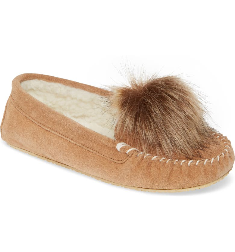 PATRICIA GREEN Colorado Moccasin Slipper, Main, color, CAMEL SUEDE