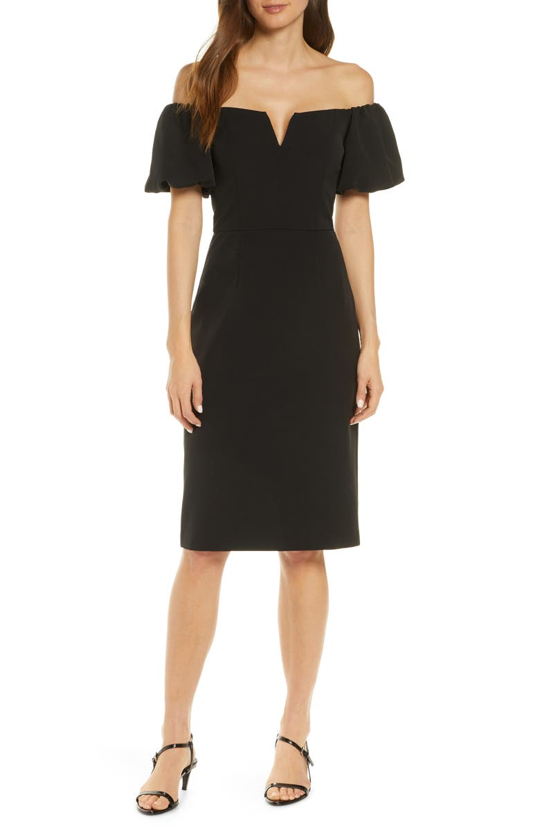 VINCE CAMUTO Off the Shoulder Cocktail Dress, Main, color, BLACK
