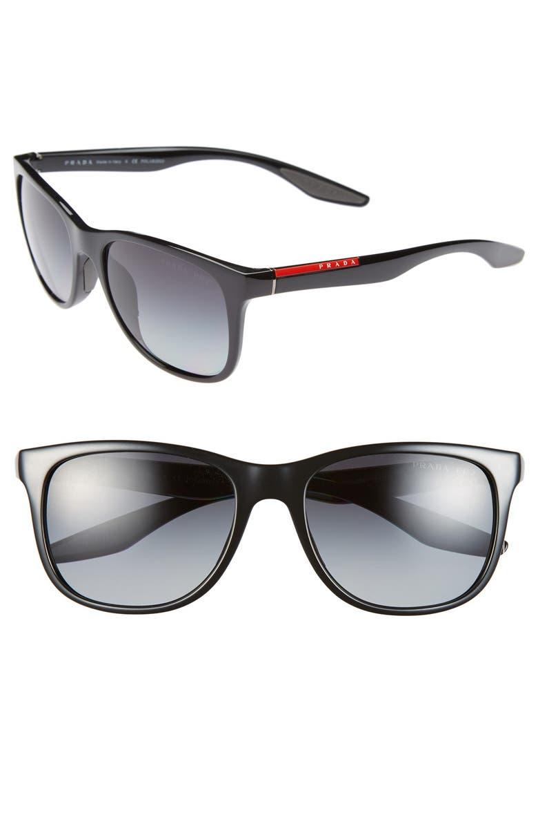 PRADA 55mm Sunglasses, Main, color, 001