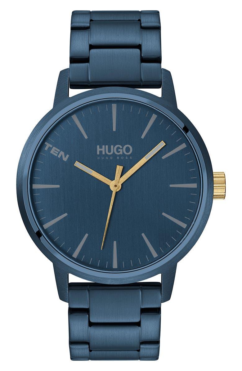 BOSS HUGO Stand Bracelet Watch, 42mm, Main, color, BLUE