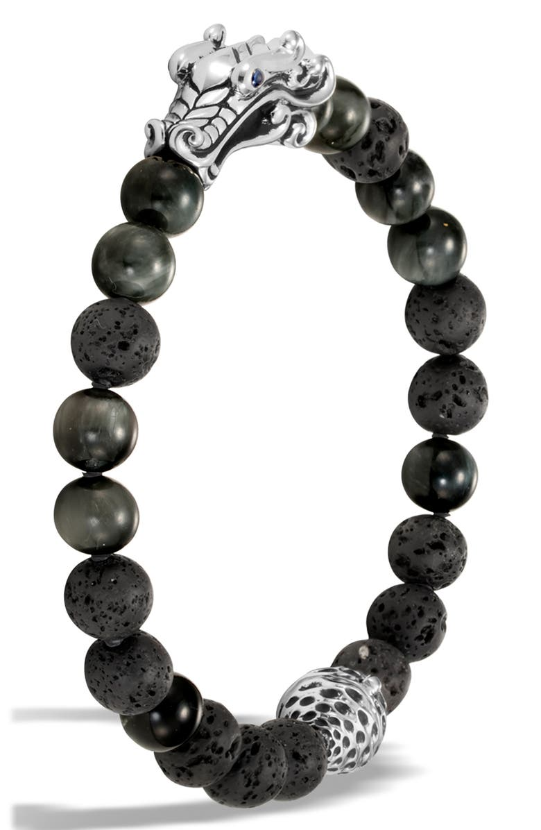 JOHN HARDY Men's Legends Naga Bead Bracelet, Main, color, GREY