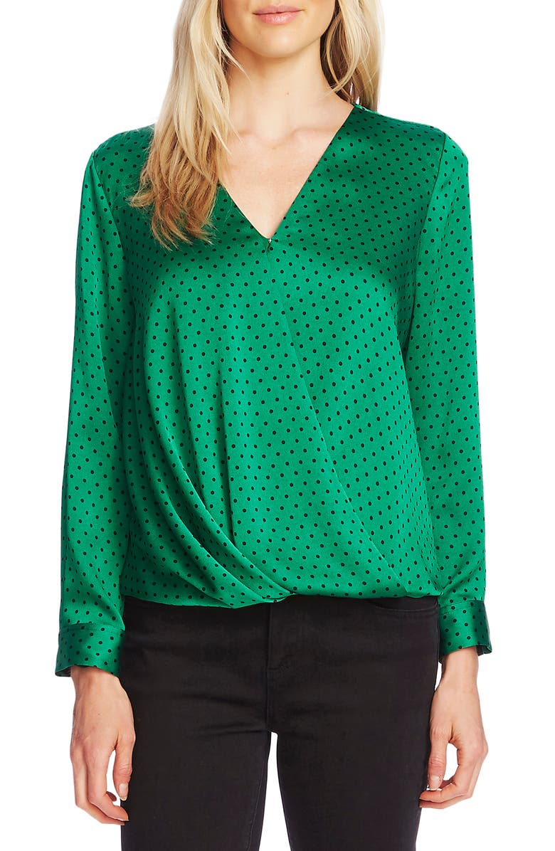 VINCE CAMUTO Fiesta Dot Wrap Front Long Sleeve Hammered Satin Blouse, Main, color, 317