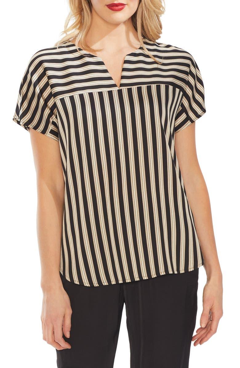 VINCE CAMUTO Split Neck Stripe Top, Main, color, 006