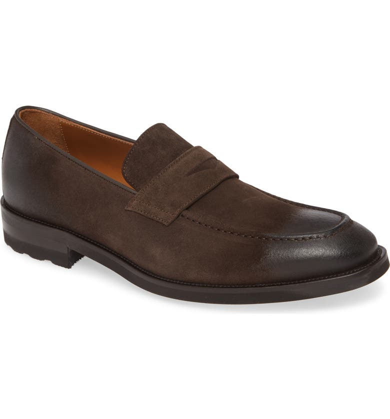 BRUNO MAGLI Bryan Penny Loafer, Main, color, DK BROWN SUEDE