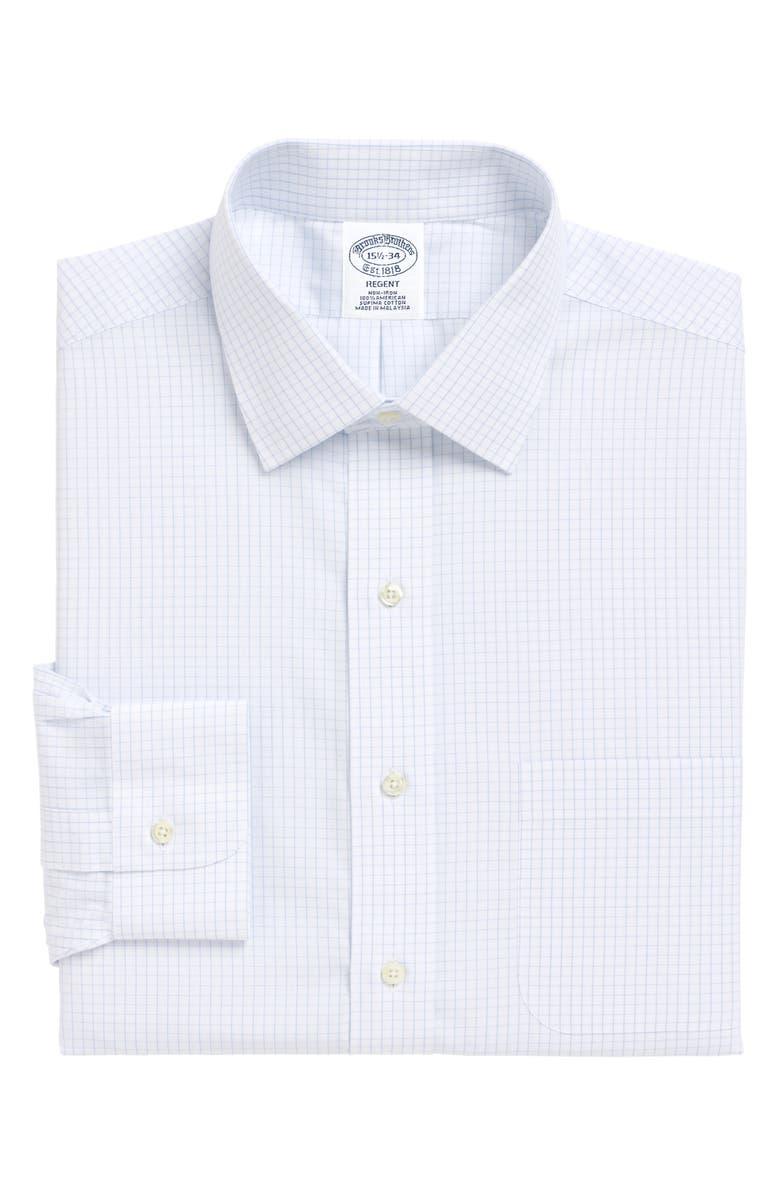 BROOKS BROTHERS Regent Regular Fit Check Dress Shirt, Main, color, 455