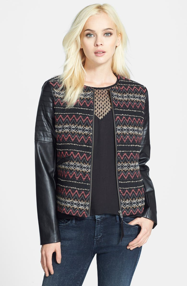 ELLA MOSS 'Trinity' Faux Leather Sleeve Jacket, Main, color, 001