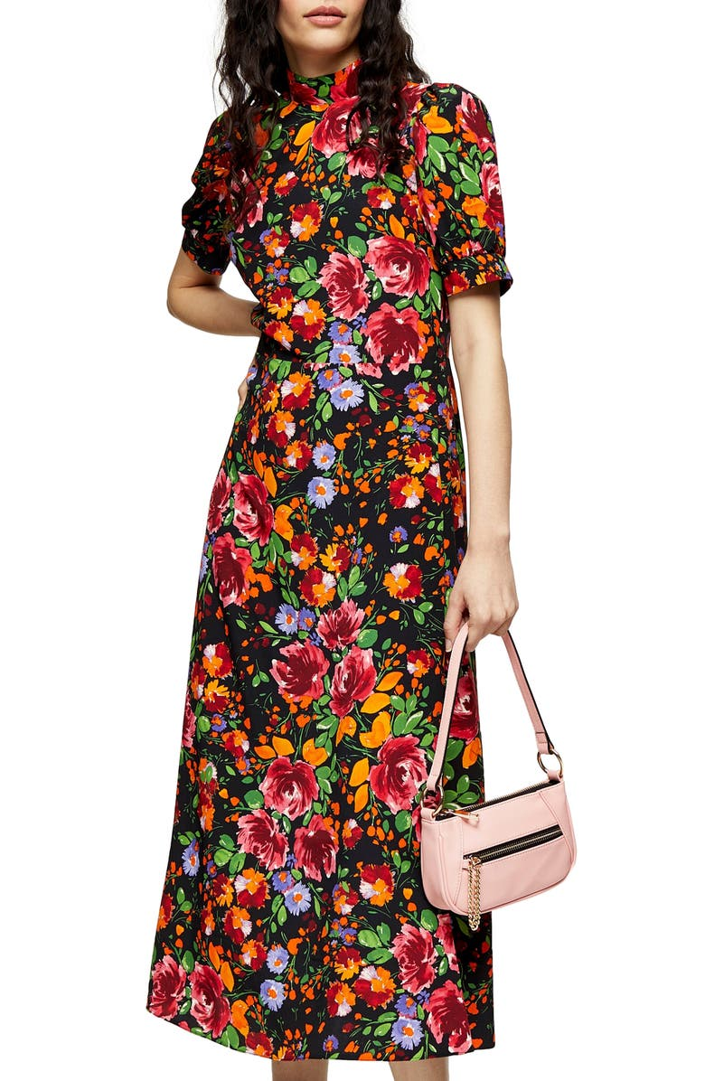 TOPSHOP Floral Print Midi Tea Dress, Main, color, ORANGE MULTI