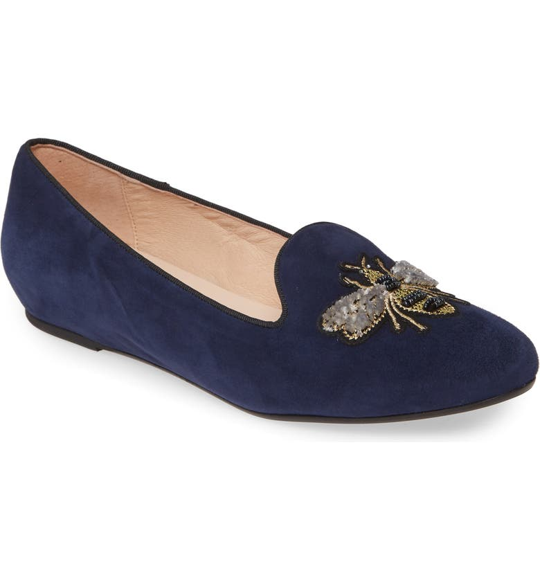 PATRICIA GREEN Embroidered Bee Loafer, Main, color, NAVY SUEDE