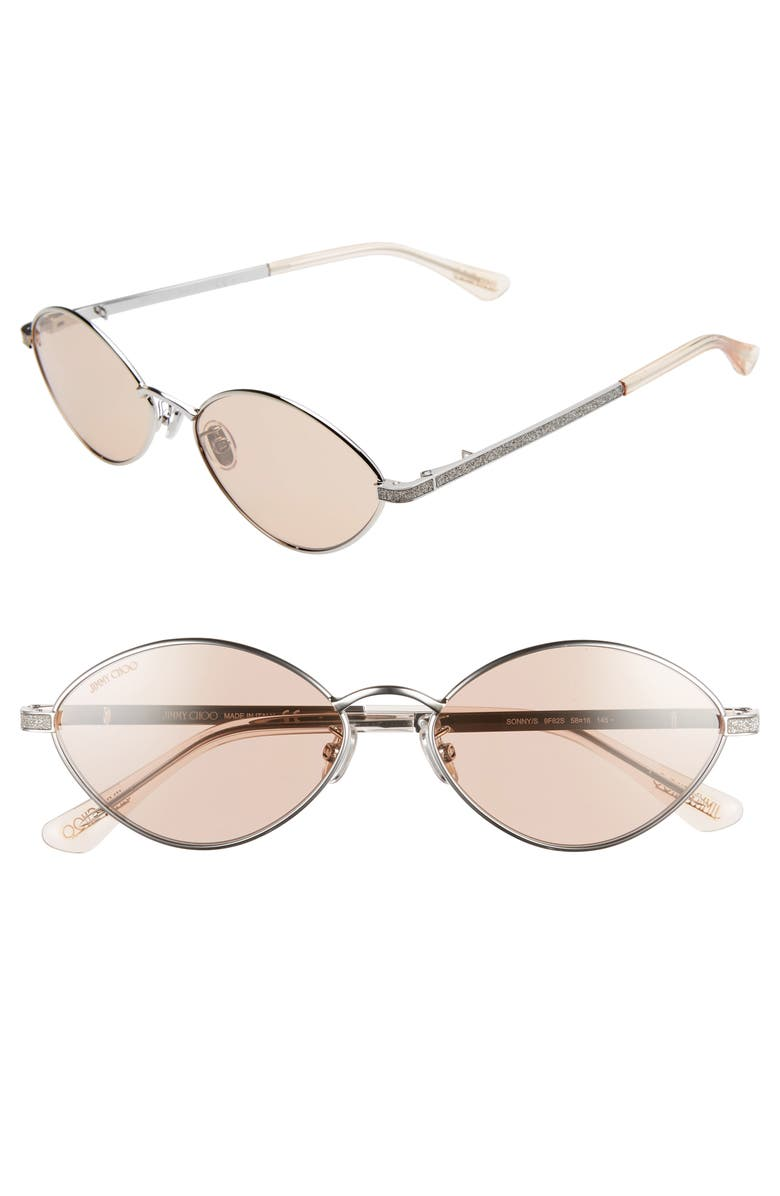 JIMMY CHOO Sonny 58mm Oval Sunglasses with Chain, Main, color, 040