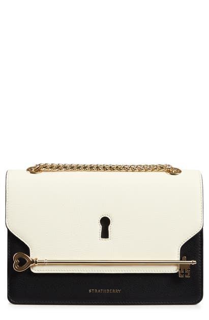 Strathberry East/west Keyhole Leather Crossbody Bag In Vanilla/ Black