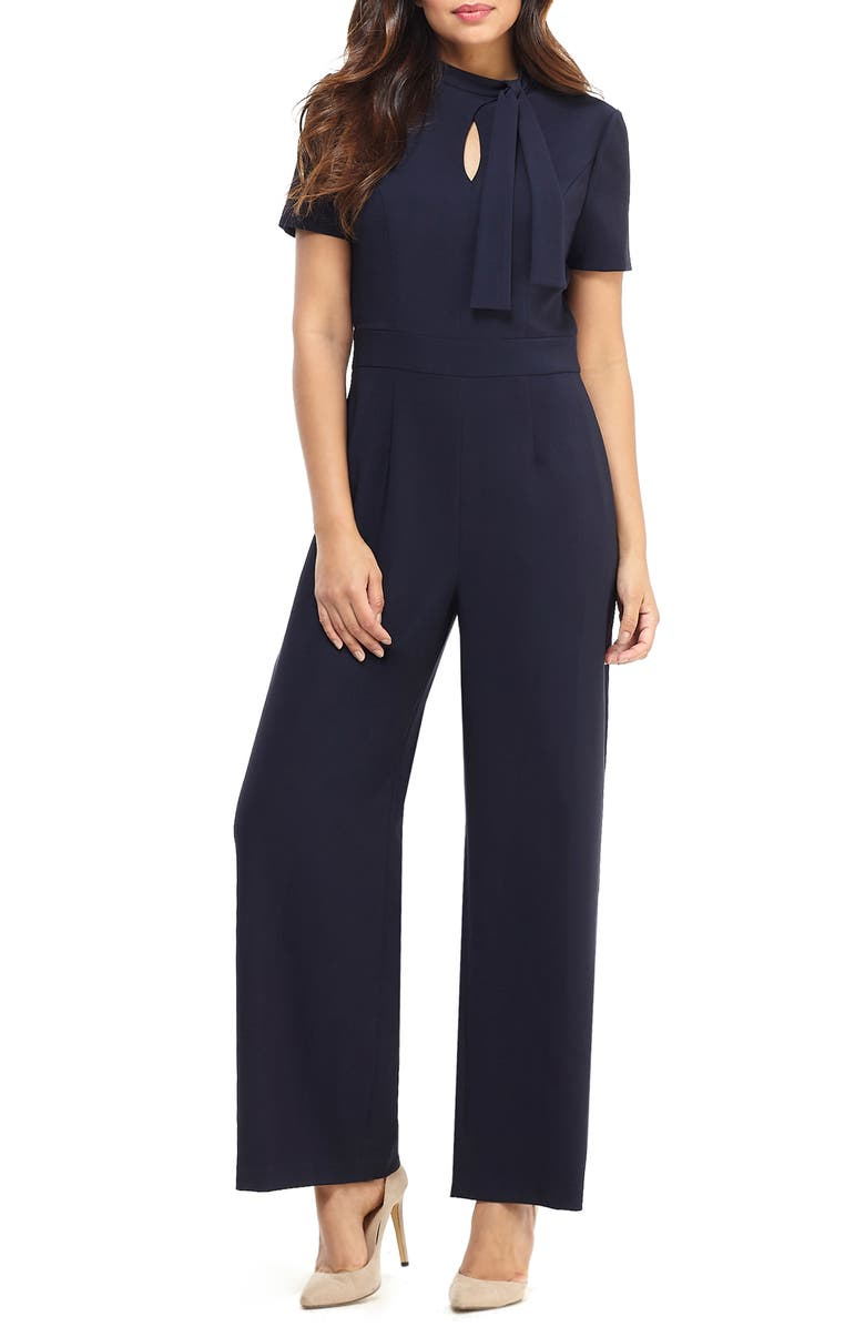 MAGGY LONDON Desk to Dinner Crepe Jumpsuit, Main, color, NAVY