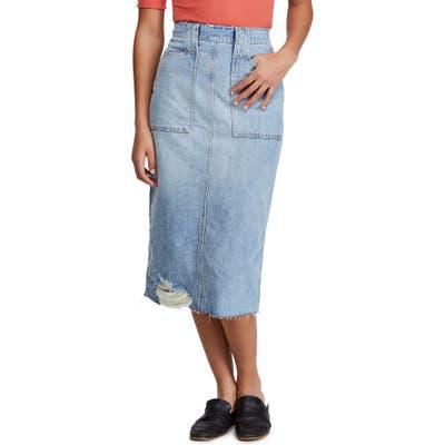 Free People Elisa Denim Pencil Skirt, Blue