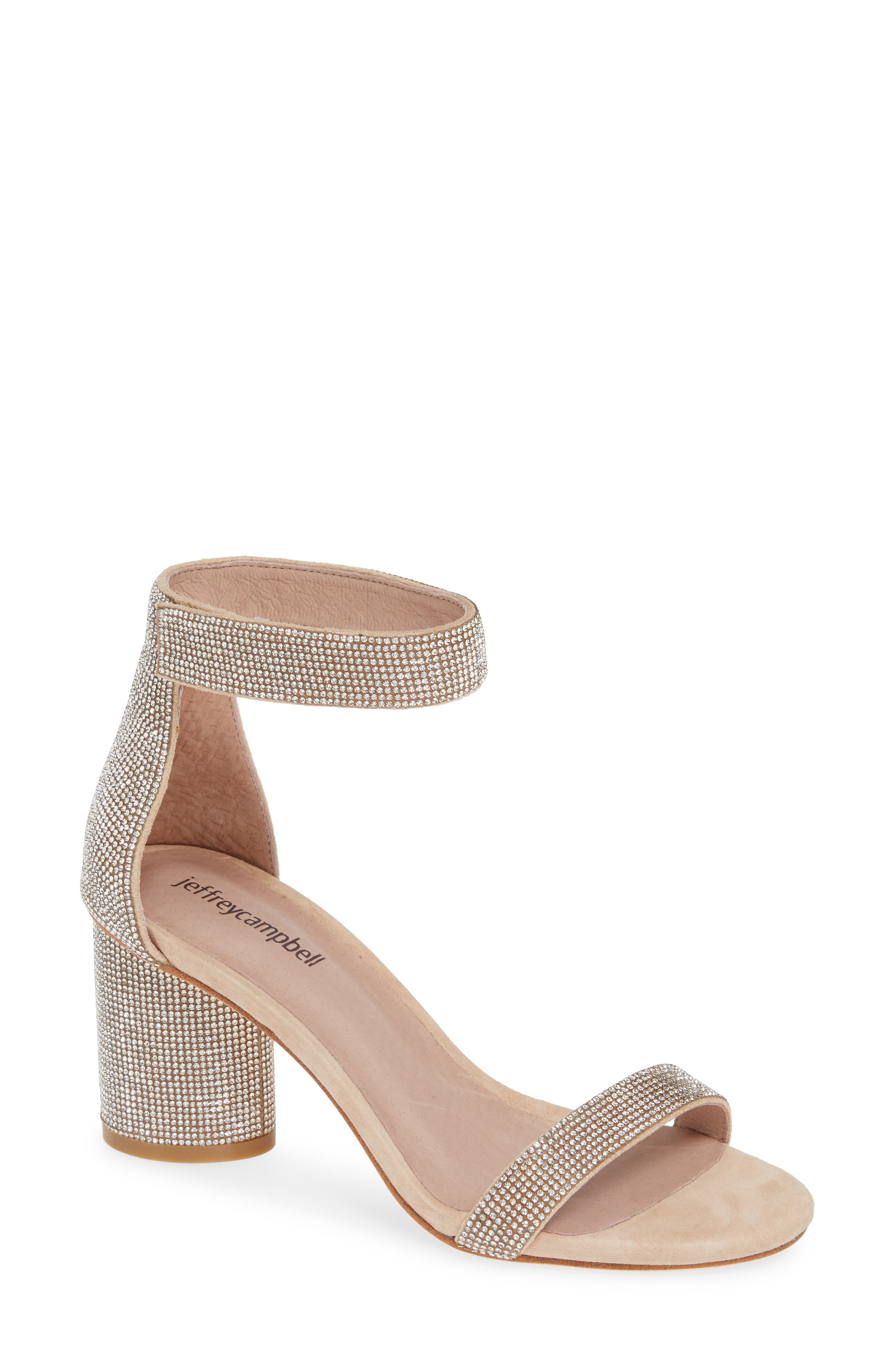 Jeffrey Campbell Laura Crystal Embellished Ankle Strap Sandal (Women)